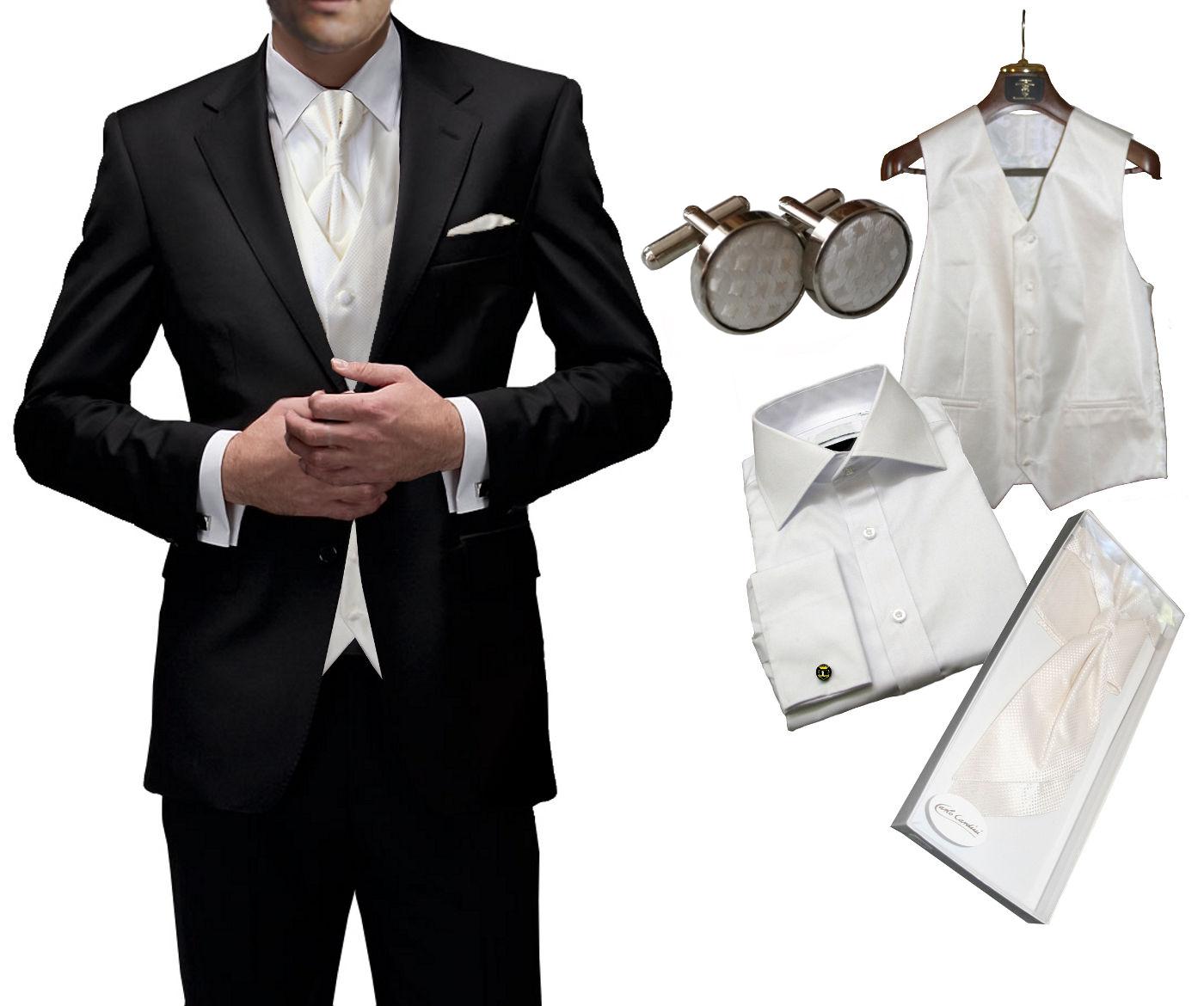 uvp695 8tlg set hochzeitsanzug freiherr von falkenhausen schwarz anzug slim fit ebay. Black Bedroom Furniture Sets. Home Design Ideas